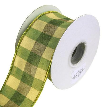 Checkered Silk Wired Edge Ribbon, Green, 2-1/2-Inch, 10 Yards