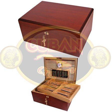- Cuban Crafters Clasico Rojo Cherrywood Cigar Humidor for 100 Count