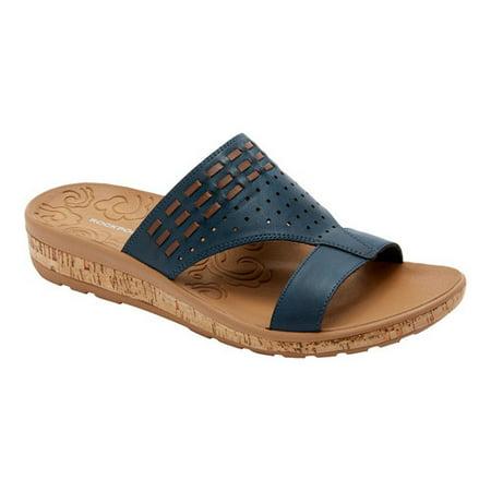 rockport women's keona slide platform sandal, navy smooth, 6.5 w us ()