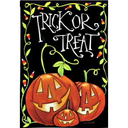 Image of Halloween Treat Fall House Flag Trick or Treat Anne Tavoletti