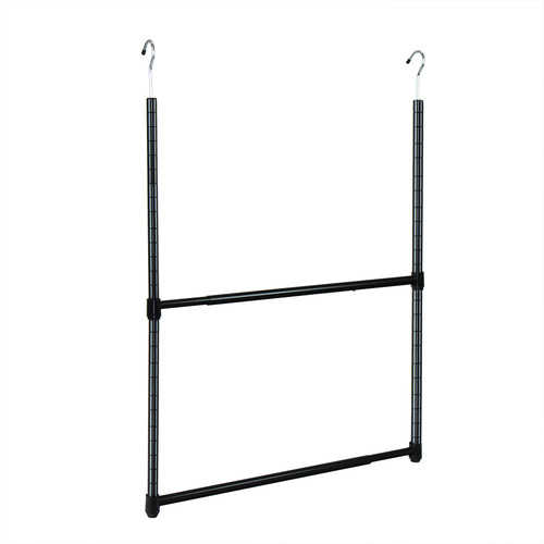 Oceanstar 2 Tier Portable Adjustable Closet Hanger Rod, Black