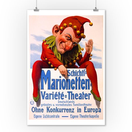 Schichtl's Marionetten Variete Theater Vintage Poster Germany (9x12 Art Print, Wall Decor Travel Poster) - German Vintage Poster