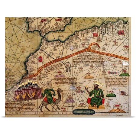 Great Big Canvas Abraham  1325 1387  Cresques Poster Print Entitled Detail Of Copy Of A Catalan Map Of Europe And North Africa