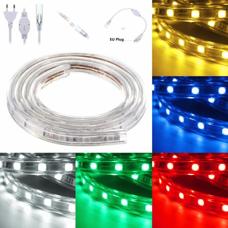 RGB LED Flexible Strip Light Lamp 1M 60LED 5050 SMD Waterproof Outdoor Party Wedding Christmas Lighting With Remote Control 110V/220V