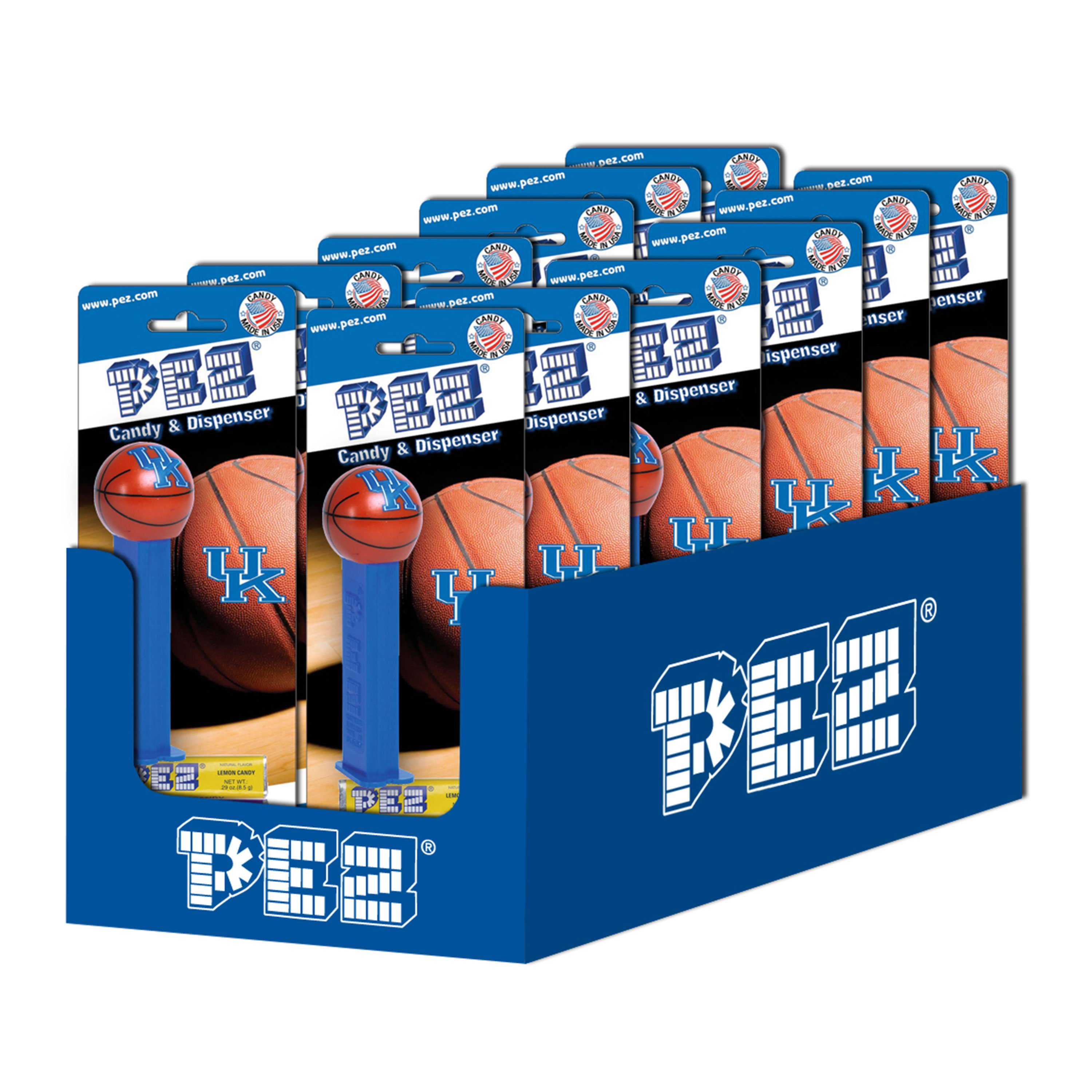 PEZ Candy Collegiate Basketball: University of Kentucky, candy dispenser with 3 rolls of assorted fruit candy, box of 12