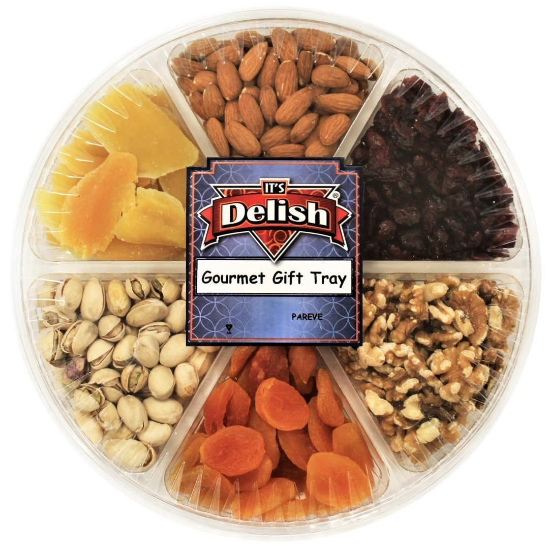 Gourmet Fresh Nuts & Dried Fruit Variety Large Gift Tray 6-Section Healthy Choice by Its Delish