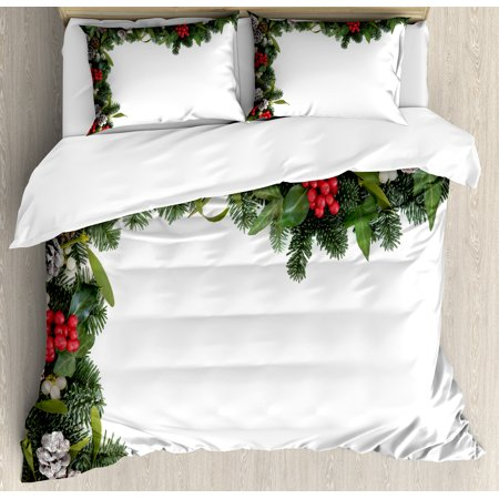 Christmas Duvet Cover Set, Winter Frame with Holly Ivy Mistletoe Spruce Fir and Pine Cones Arrangement Image, Decorative Bedding Set with Pillow Shams, Multicolor, by Ambesonne ()