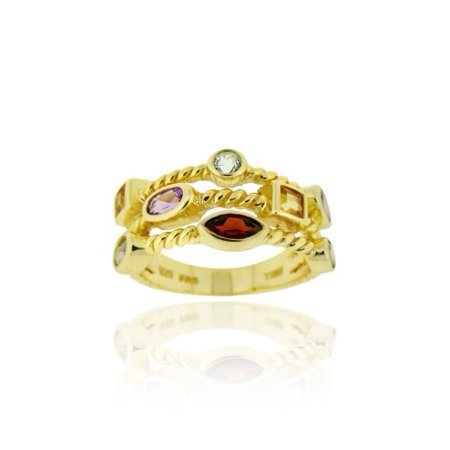 18K Gold over Sterling Silver Multi Shaped 3-Row Gemstone Ring Size (18k Gold Gemstone Ring)