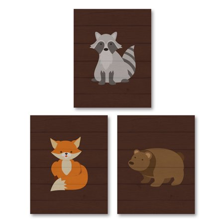 Gango Home Decor Forest Woodlands Raccoon, Bear and Fox Child's Room or Nursery Wall Art by Tamara Robinson; Three Brown 8x10in Unframed Paper Prints (Paper Only, No Frame) - Woodland Fox