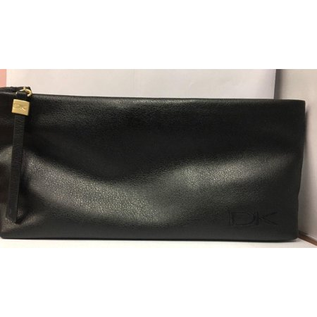 DONNA KARAN BLACK FAUX LEATHER  BAG 10.5