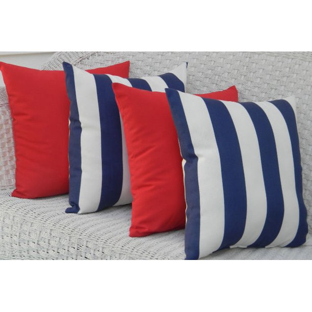 Set Of 4 Throw Pillows Blue White Stripe Solid Red In Outdoor 17 X 17 Walmart Com Walmart Com