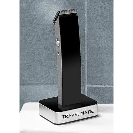 TravelMate Beautiful Modern Black Matte  Finish Hair Clipper Kit - Ultra-sleek Hair, Body, Mustache, and Beard Trimmer - AC Adapter, Base Dock, Trimming Attachments