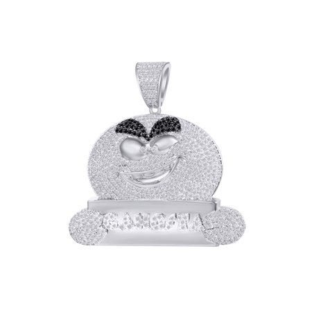 3 Carat (Ctw) Round Black & White Natural Diamond Iced Out Hip Hop Jewelry Charm Pendant 14k Solid White Gold Solid 14k White Gold Pendant