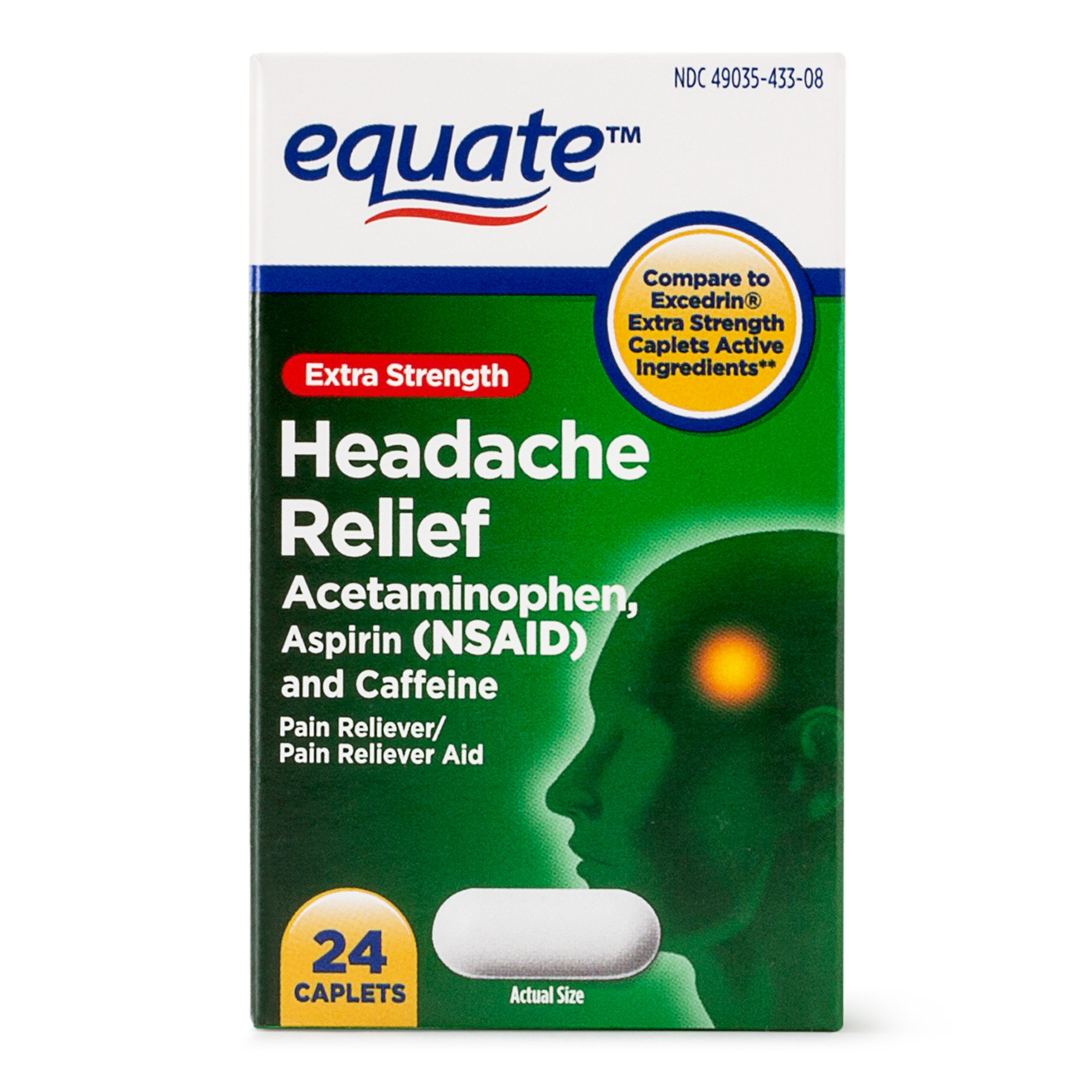 (4 Pack) Equate Extra Strength Headache Relief Acetaminophen Caplets, 250 mg, 24 Ct