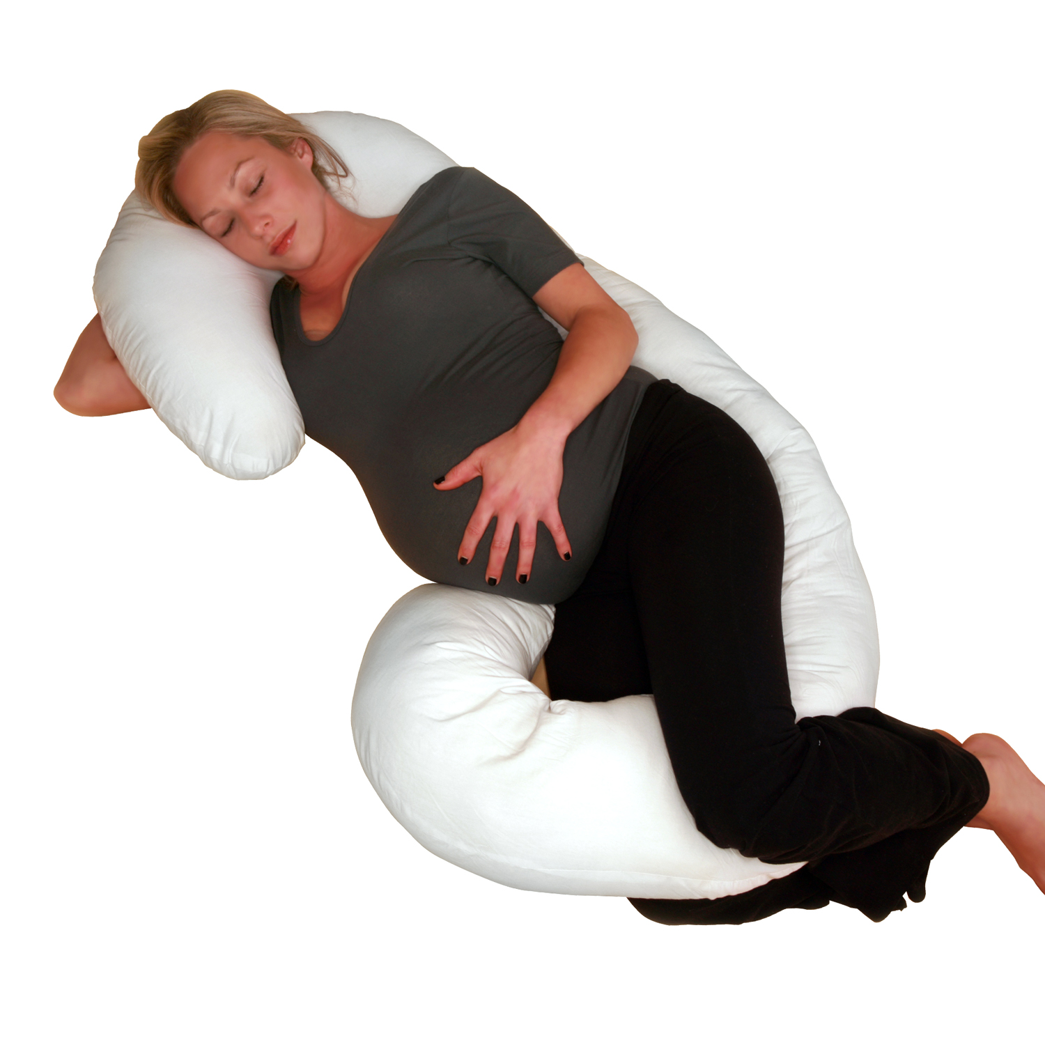 Deluxe Comfort Body Pillow – Total Body Length – Prenatal Pregnancy Pillow – Superior Comfort – Body Pillow, White