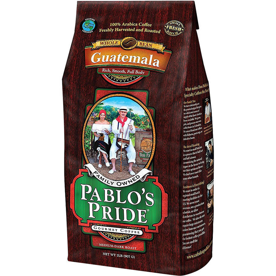 Pablo's Pride Guatemalan Whole Bean Coffee, Medium-Dark Roast, 32 Oz