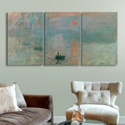 "wall26 3 Panel Canvas Wall Art - Impression, Sunrise by Claude Monet - Giclee Print Gallery Wrap Modern Home Decor Ready to Hang - 16""x24"" x 3 Panels"