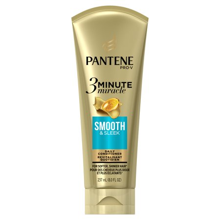 Pantene Smooth & Sleek 3 Minute Miracle Daily Conditioner, 8.0 fl (Pantene 3 Minute Miracle Moisture Renewal Deep Conditioner)