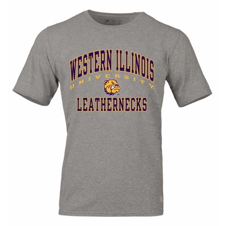 Western Illinois Leathernecks Adult NCAA Arch and Logo Tagless T-Shirt  - Gray - Adult Westerns