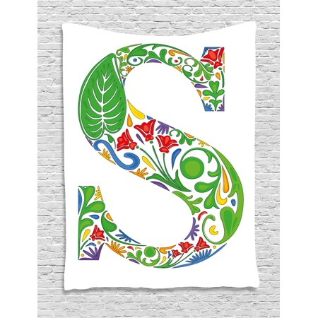 Letter S Tapestry  Nature Inspired Capital Letter S With Spring Elements Design Flowers Leaf Pattern  Wall Hanging For Bedroom Living Room Dorm Decor  40W X 60L Inches  Multicolor  By Ambesonne