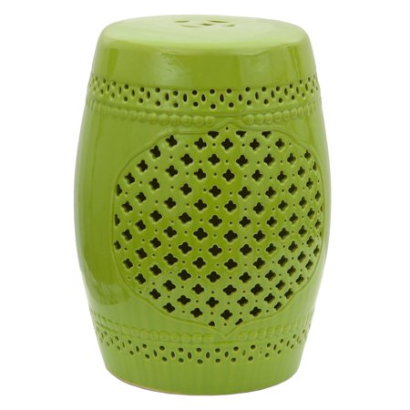 Oriental Furniture Green Lattice Porcelain 18 in. Garden Stool (Outdoor Porcelain)