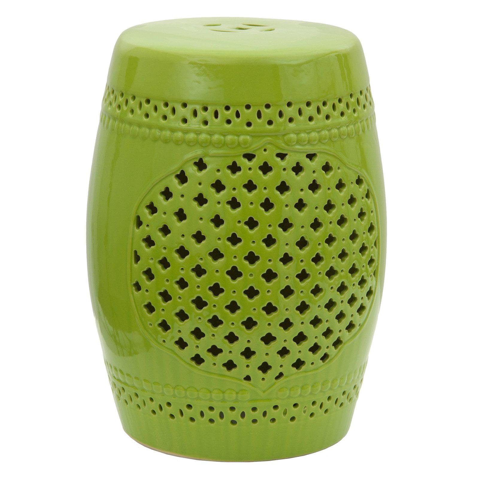 Oriental Furniture Green Lattice Porcelain 18 in. Garden Stool