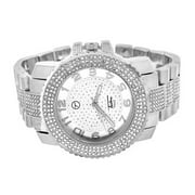 All White Watch For Men Lab Dimond Having 14k White Gold Finish Icy Roun