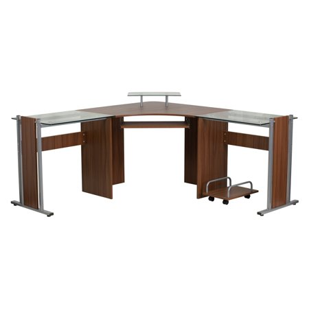 Flash Furniture Teakwood Laminate Corner Desk With Pull Out Keyboard Tray And Cpu Cart