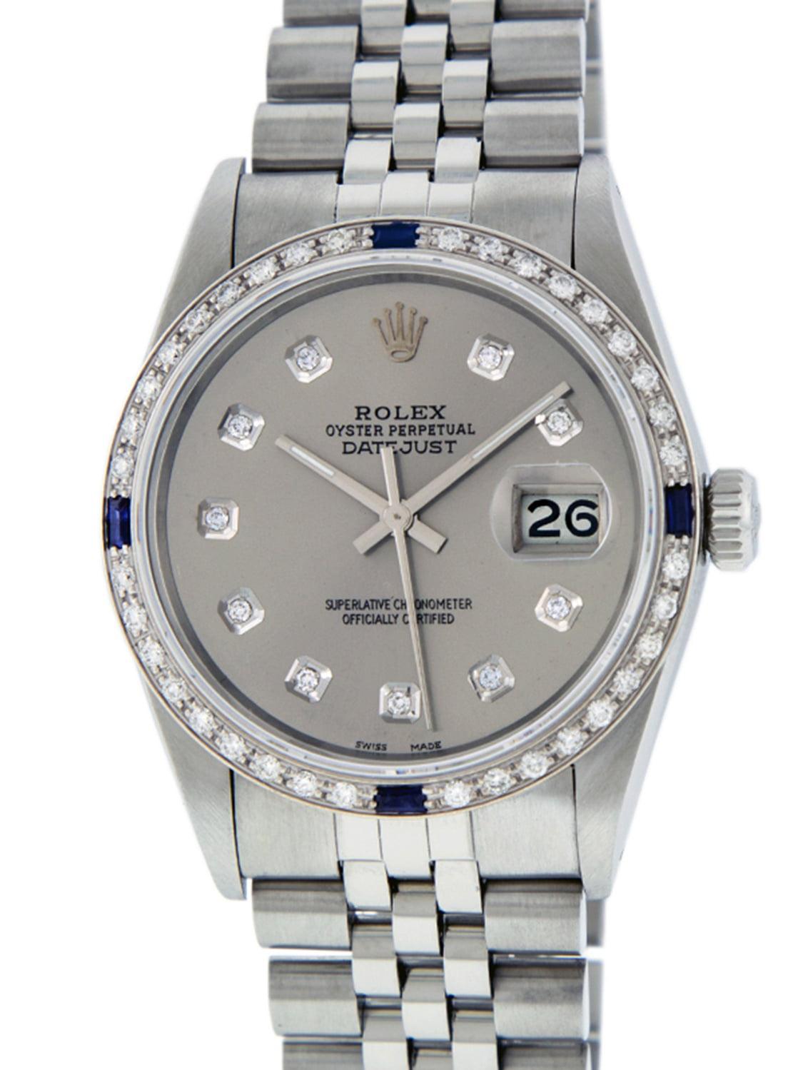 Used Rolex Mens Datejust Steel & 18K White Gold Slate Grey Diamond & Sapphire Watch Jubilee by