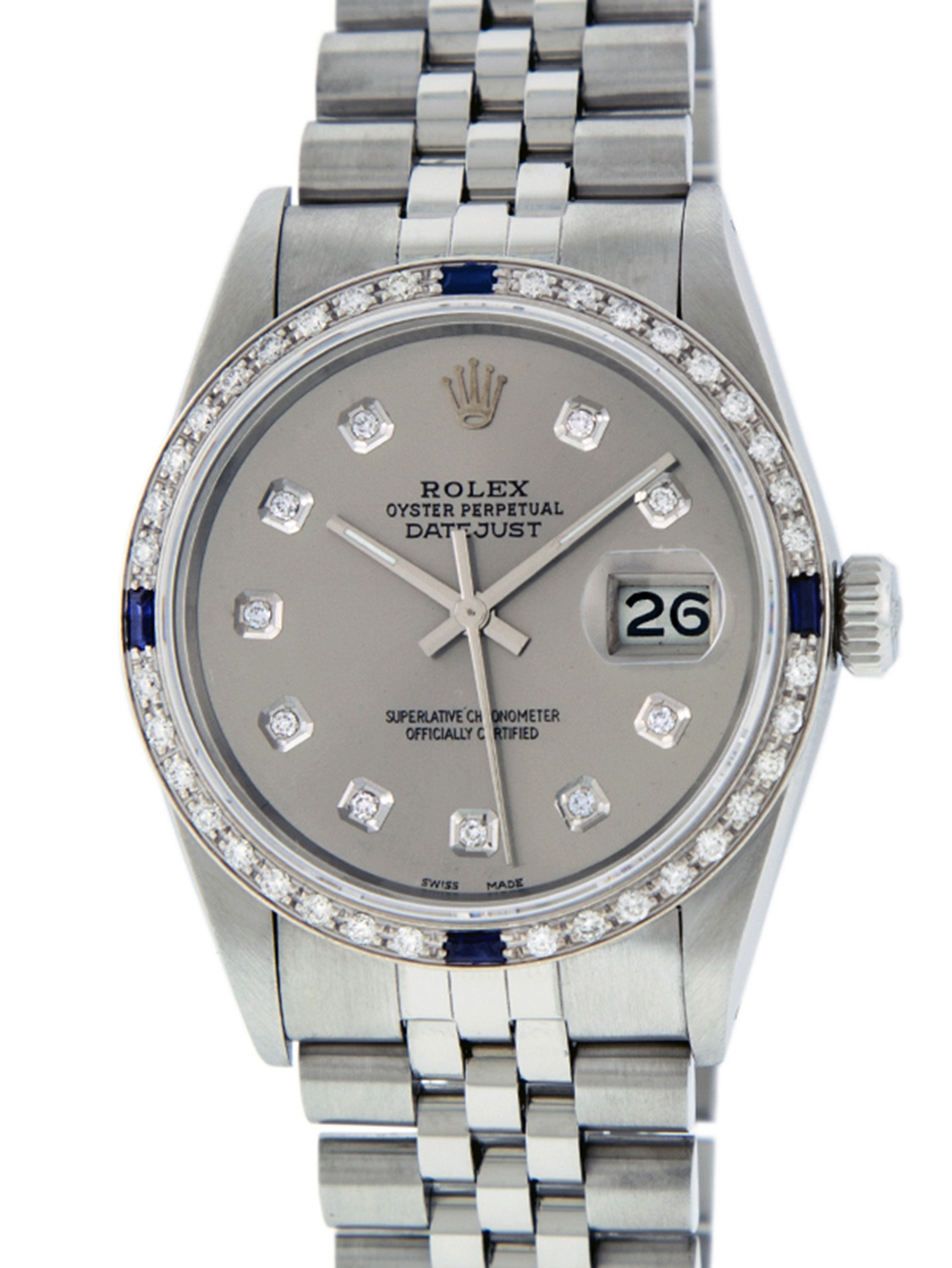 Pre-Owned Rolex Mens Datejust Steel & 18K White Gold Slate Grey Diamond & Sapphire Watch Jubilee