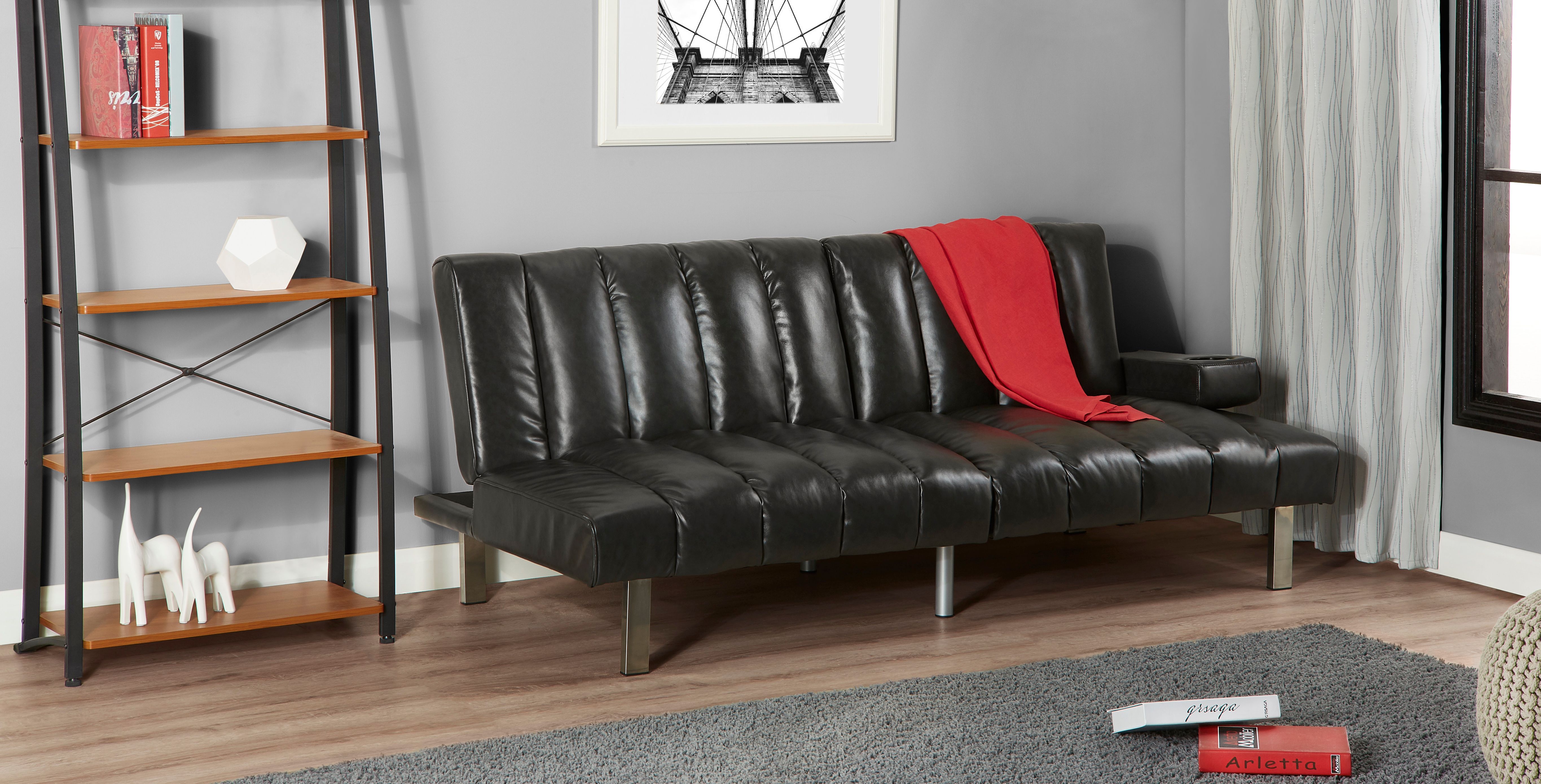 Mainstays Theater Futon Black Adjule Sleeper Sofa Couch Guest Room Furniture