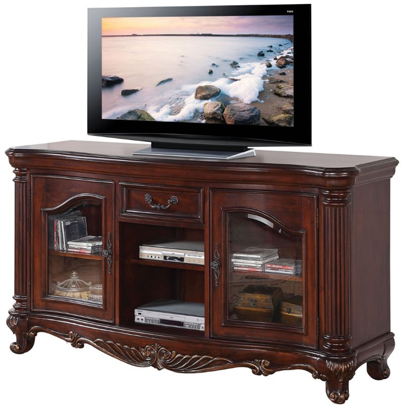 "Acme Remington TV Stand for TVs up to 60"", Brown Cherry"