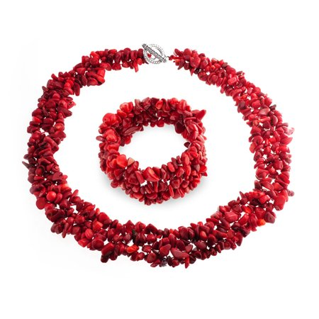 Enhanced Red Dye Simulated Coral Cluster Chips Bib Statement Collar Necklace Stretch Womens Bracelet Silver Plated (Red Dye Chip)