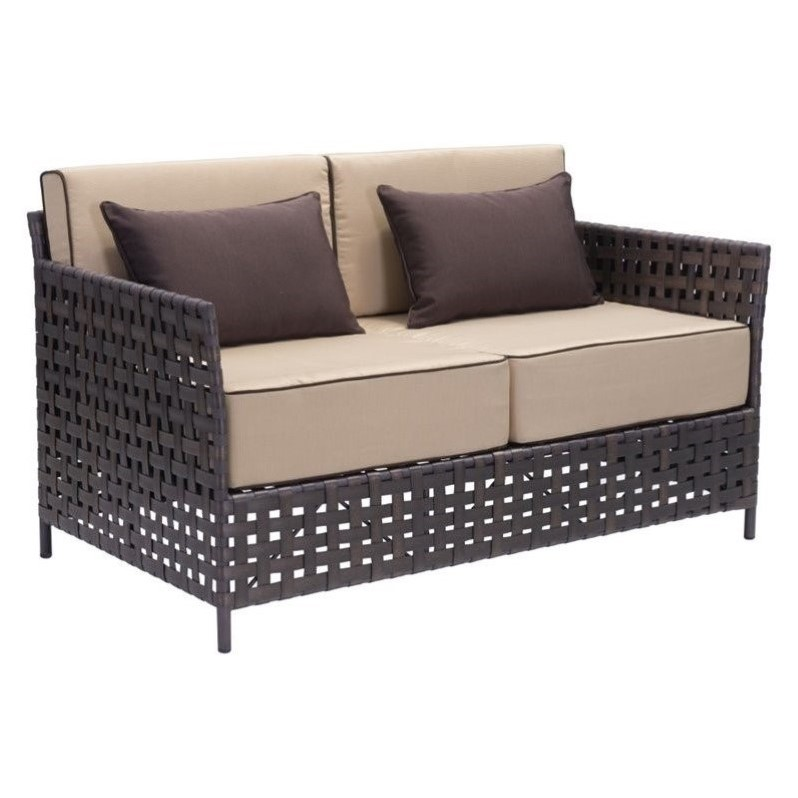 Zuo Pinery Vive Sofa in Brown and Beige Finish 703638