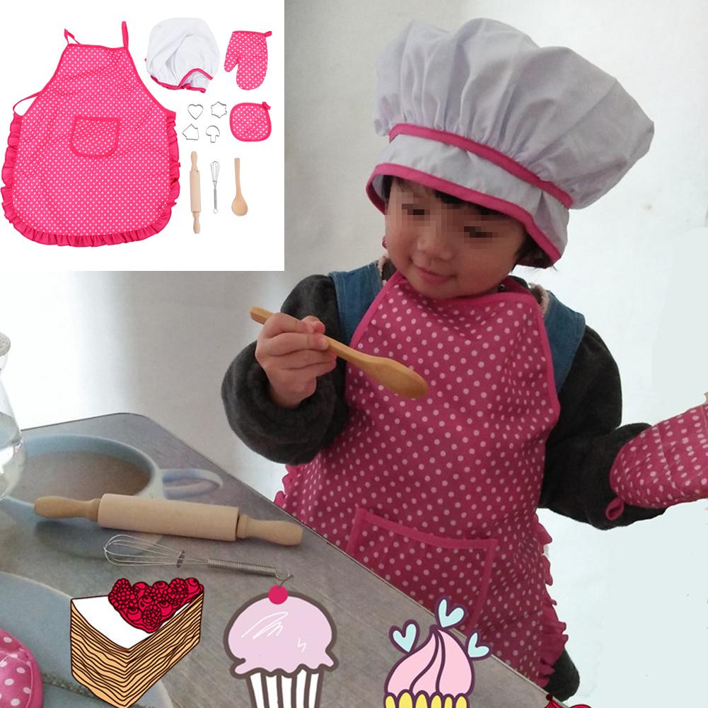 Ejoyous Children Chef Set DIY Cooking Baking Suit Toys Set Pretend Play Clothes Apron Gloves Hat Cooker, Children DIY Cooker Set,Children Chef Set