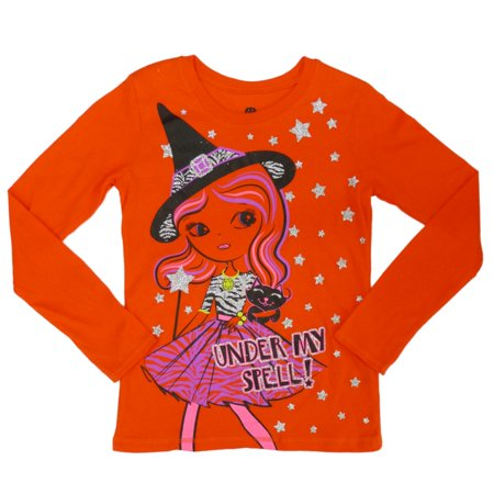 Happy Halloween Girls Orange Under My Spell Witch T-Shirt - Annoying Orange Happy Halloween