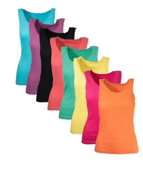 Ribbed Racerback Tank Tops Juniors Sizing Colorful 5-Pack