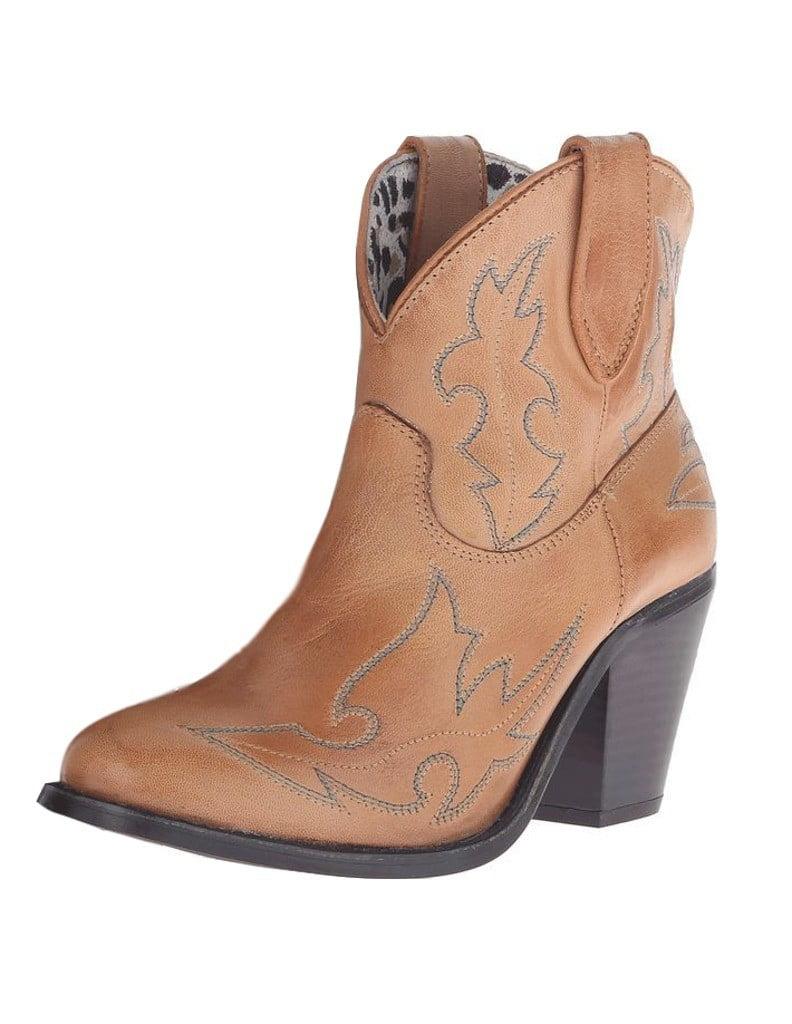 "Dingo Western Boots Womens 6"" Billie Shortie Stitch Brown DI 688 by Dingo"