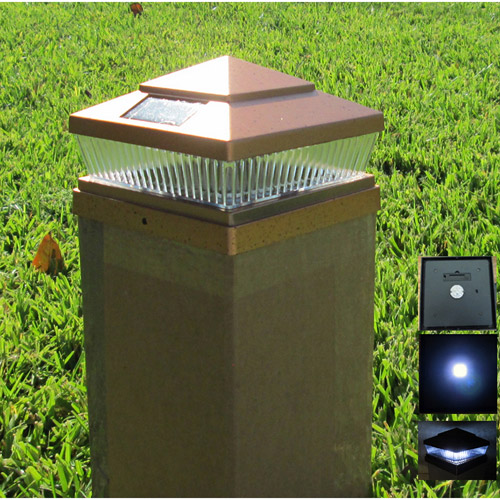 plastic copper 6x6 outdoor 5 led 78 lumen solar post cap light