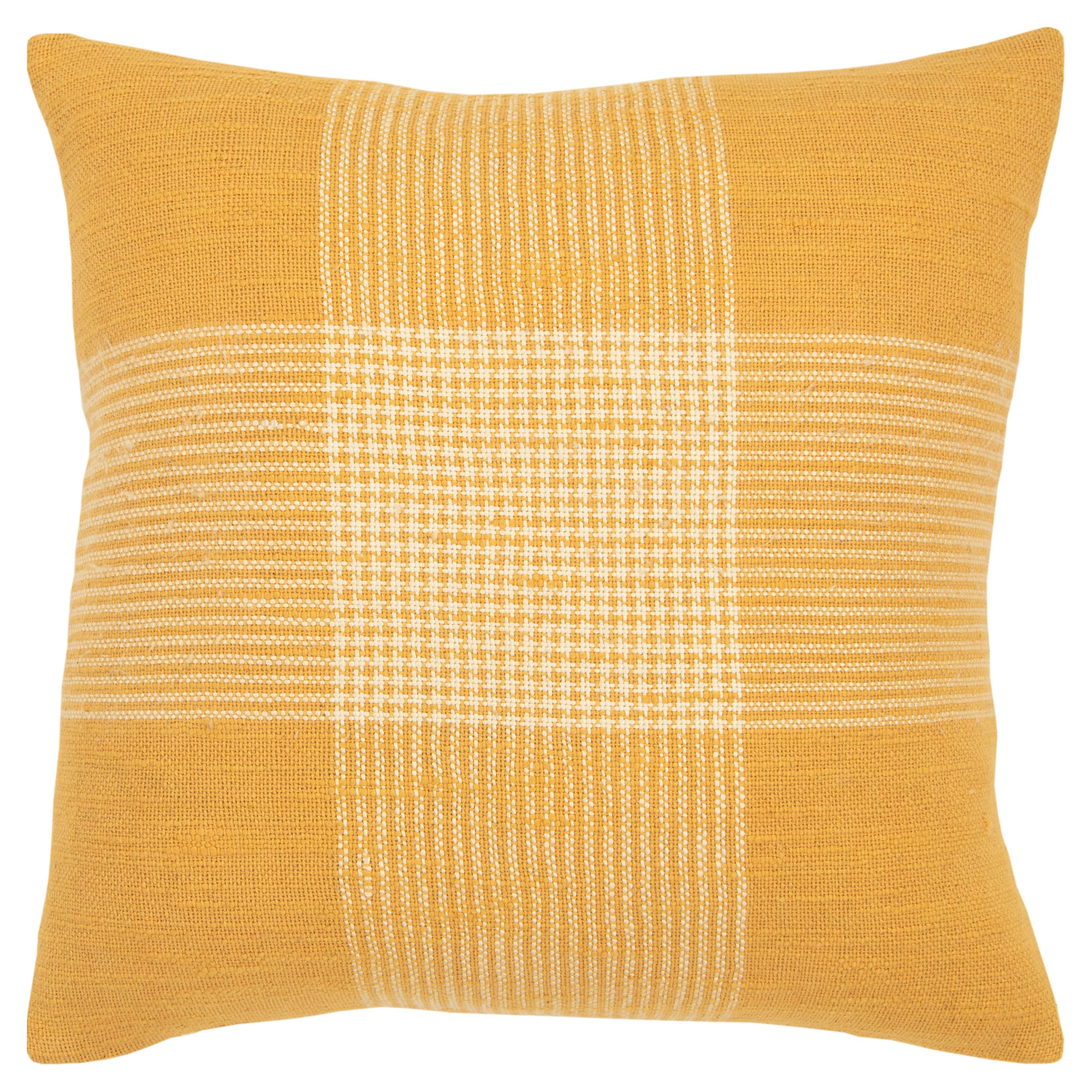 """Rizzy Home Decorative Down Filled Throw Pillow Plaid 20""""X20"""" Yellow"""