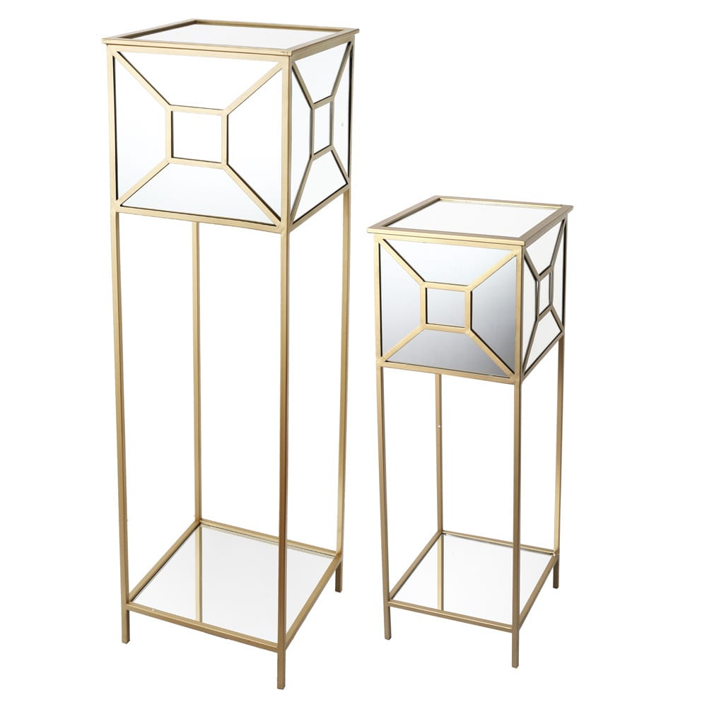 Image of A & B Home Group Inc. kathy ireland Mirrored Pedestals (Set of 2)