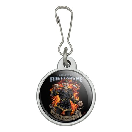 American Fire Department Firefighter Skeleton Fears Me Jacket Handbag Purse Luggage Backpack Zipper Pull Charm Fire Department Bag