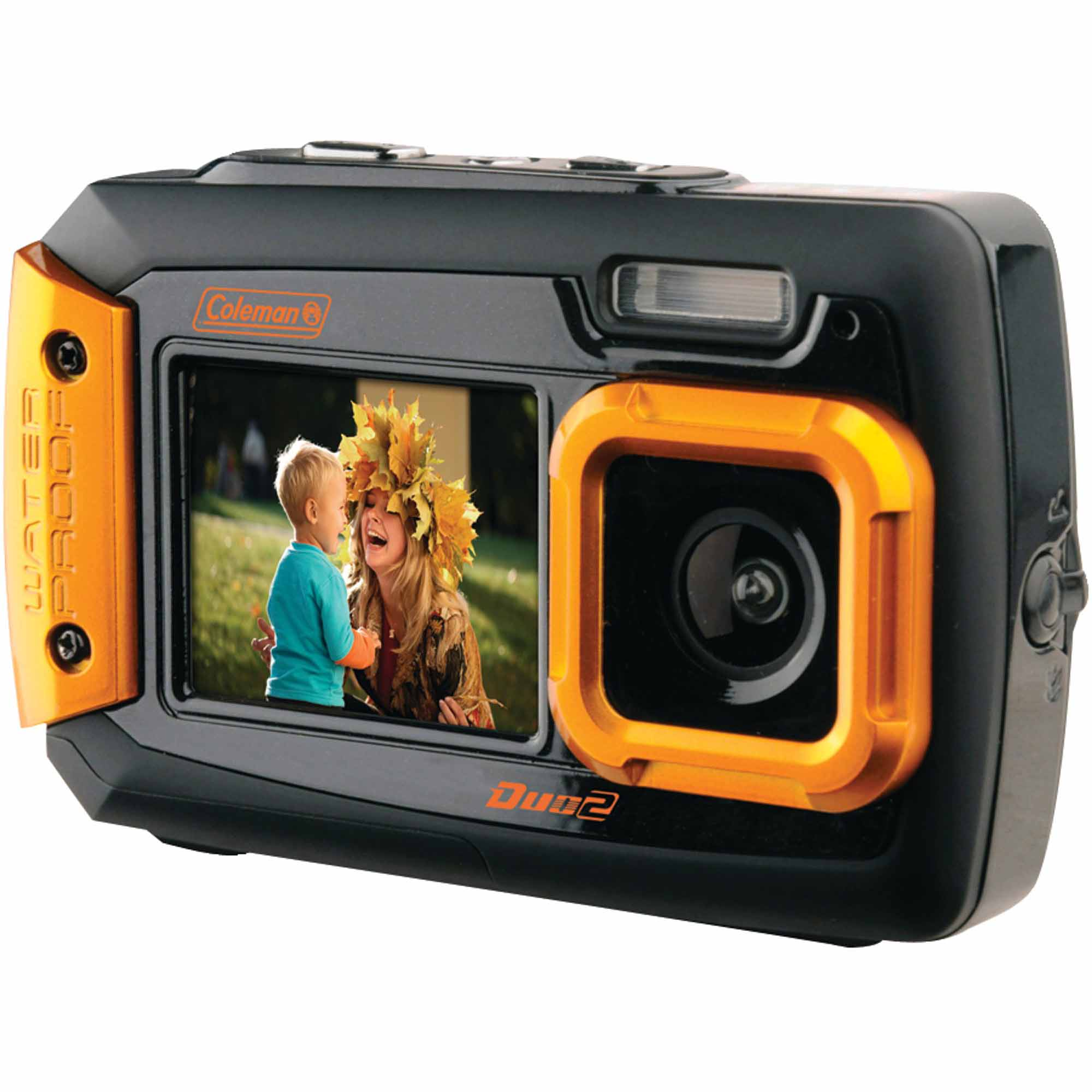 Coleman 2V9WP Duo2 Dual-Screen Waterproof 20MP Digital Camera, Orange