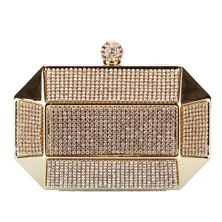 Chicastic Gold Rhinestone Stud Octagon Hard Box Clutch Wedding Bridal Bridesmaid Cocktail Evening Bag](Personalized Bridesmaid Bags)