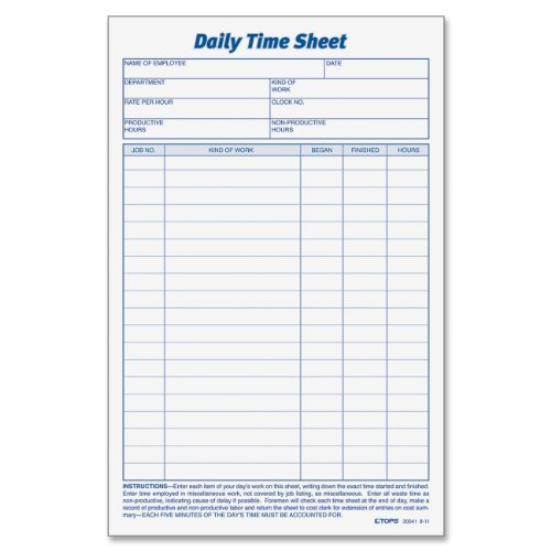 """Tops Daily Time Sheet Form - 100 Sheet[s] - 9.50"""" X 6"""" Sheet Size - White - 2 / Pack (TOP30041)"""