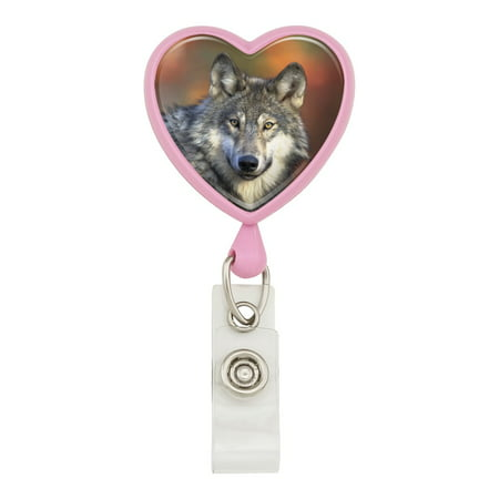 Gray Wolf with Fall Background Heart Lanyard Retractable Reel Badge ID Card Holder - Pink