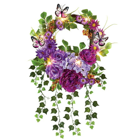 Lush Mixed Artificial Floral LED Lighted Summer Door Wreath Decoration with Trailing Ivy, 18