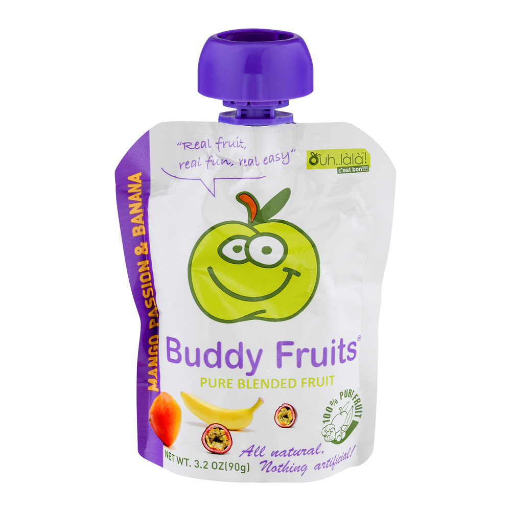 Buddy Fruits Pure Blended Fruit Mango Passion & Banana, 3.2 OZ