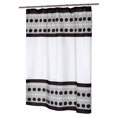 """Metro"" Fabric shower curtain, 100% polyester, size 70""x72"", color black"