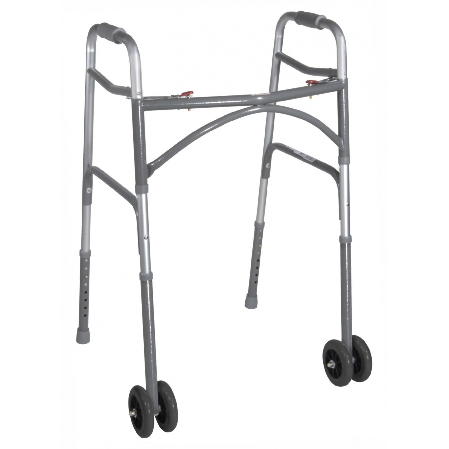 Bariatric Dual Release Folding Walker Adjustable Height drive Aluminum 32 to 39 Inch - 500 lb Weight Capacity